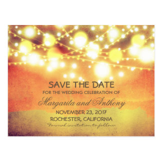 vintage string lights orange yellow save the date postcards