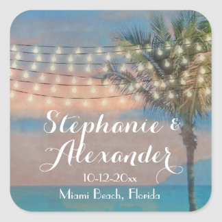 Vintage String Lights Sunset Beach Wedding Square Sticker