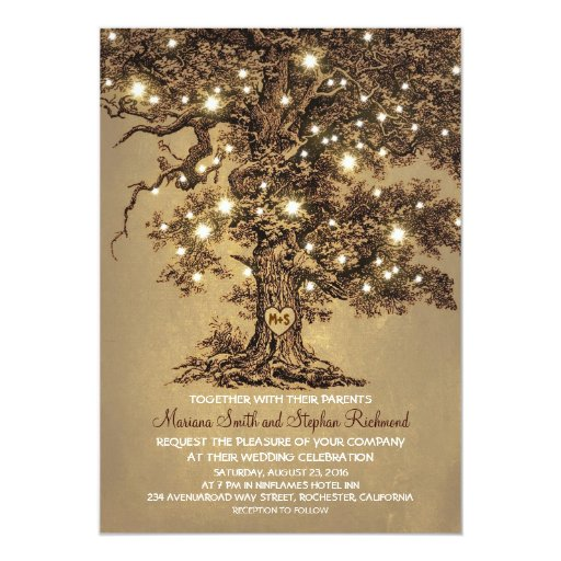String Lights Rustic Tree : Vintage String Lights Tree Rustic Wedding Invites Zazzle