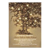 Vintage String Lights Tree Rustic Wedding Invites Custom Invites