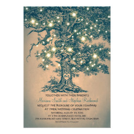 Vintage String Lights Tree Rustic Wedding Invites Custom Announcements
