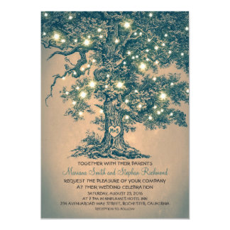Vintage String Lights Tree Rustic Wedding Invites Custom Announcements