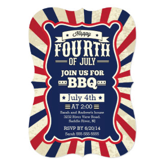 Vintage Stripe 4th of July Party 5x7 Paper Invitation Card