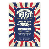 Vintage Stripe 4th of July Party Card