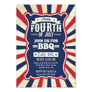 Vintage Stripe 4th Of July Party Card at Zazzle