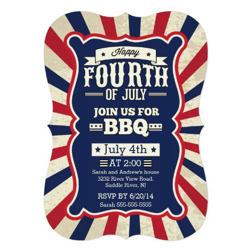 Vintage Stripe 4th of July Party Personalized Invites