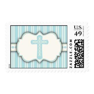 Vintage Stripe Religious Cross Sticker | Blue Postage