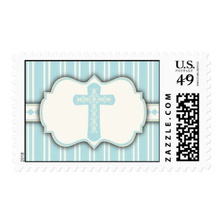 Vintage Stripe Religious Cross Sticker | Blue Postage Stamp