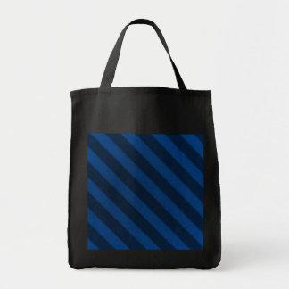 Vintage Stripe Sapphire Blue Grunge Black Reusable Tote Bag
