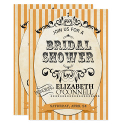 Vintage Striped Bridal Shower Invitation-orange Invitation