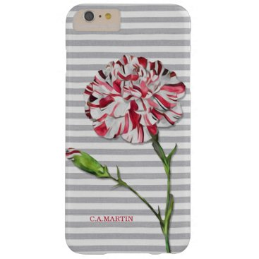 Beach Themed Vintage Striped Carnation Flower with Beach Stripe Barely There iPhone 6 Plus Case