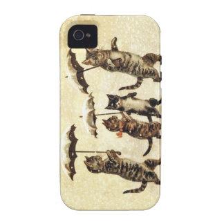 Vintage Striped Cats Umbrellas Dancing Snow iPhone 4/4S Case