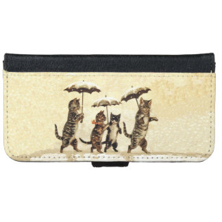 Vintage Striped Cats Umbrellas Dancing Snow iPhone 6/6s Wallet Case