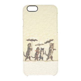 Vintage Striped Cats Umbrellas Dancing Snow Uncommon Clearly™ Deflector iPhone 6 Case