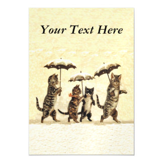 Vintage Striped Cats Umbrellas Dancing Snow Magnetic Card