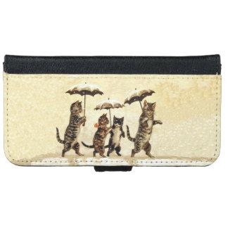 Vintage Striped Cats Umbrellas Dancing Snow iPhone 6 Wallet Case