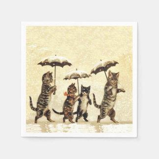 Vintage Striped Cats Umbrellas Dancing Snow Paper Napkin
