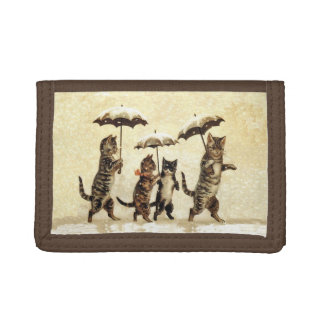 Vintage Striped Cats Umbrellas Dancing Snow Trifold Wallets