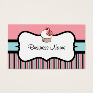 Vintage  Striped Cupcake Business Card