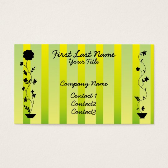 Vintage Stripes and Flowers Business Card