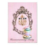 vintage stripes chandelier Housewarming Party 4.5x6.25 Paper Invitation Card
