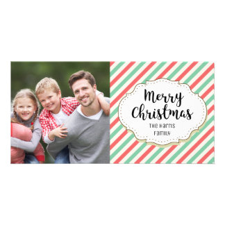 Vintage Stripes Christmas Picture Photo Card