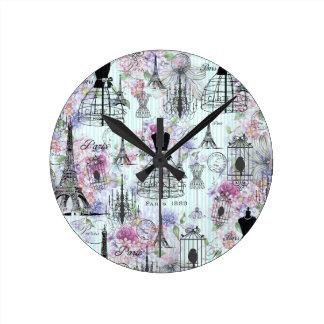 Vintage stripes Eiffel Tower collage pink floral Round Clock