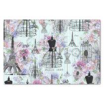 Vintage stripes Eiffel Tower collage pink floral Tissue Paper