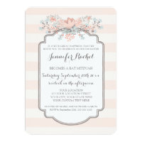 Vintage Stripes Floral Bat Mitzvah Invitations