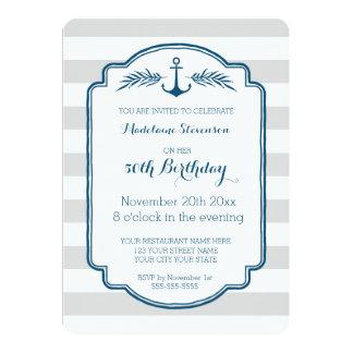 Vintage Stripes Nautical 50th Birthday Party 5x7 Paper Invitation Card