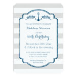 Vintage Stripes Nautical 50th Birthday Party Card