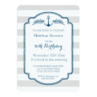 Vintage Stripes Nautical 50th Birthday Party Card