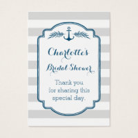 Vintage Stripes Nautical Bridal Shower Favor Tags