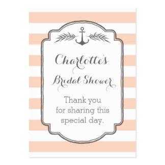 Vintage Stripes Nautical Bridal Shower Favor Tags Large Business Cards (Pack Of 100)
