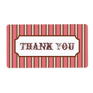 Vintage Stripes Thank You Labels