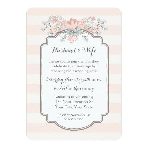 Vintage Stripes Wedding Vow Renewal Invitation