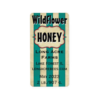 Vintage Stripes Wildflower Honey Label