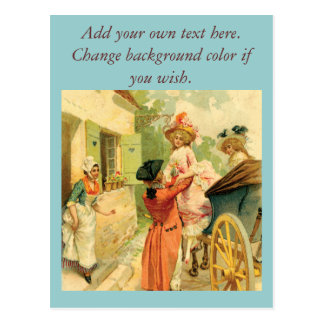 Vintage Style 18th Century Carriage Party Print Postcard