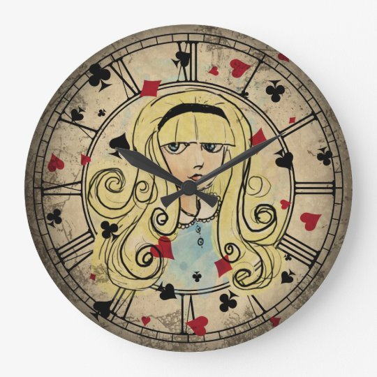 Vintage Style Alice Watercolor Large Clock