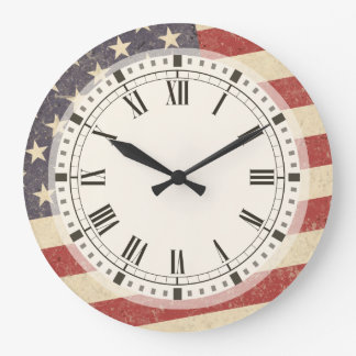 Vintage Style American Flag Grunge Look Large Clock