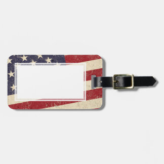 Vintage Style American Flag Grunge Look Luggage Tag