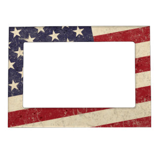 Vintage Style American Flag Grunge Look Magnetic Photo Frame