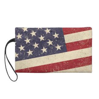 Vintage Style American Flag Grunge Look Wristlet Purse
