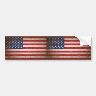 Vintage Style American Flag Patriotic Design Car Bumper Sticker