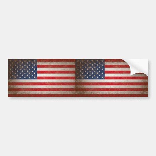 Vintage Style American Flag Patriotic Design Bumper Sticker