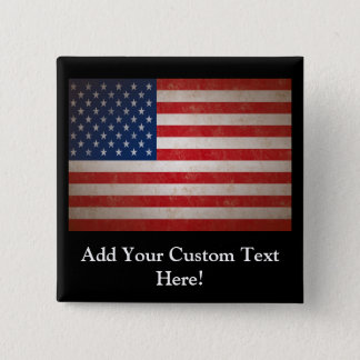Vintage Style American Flag Patriotic Design Button