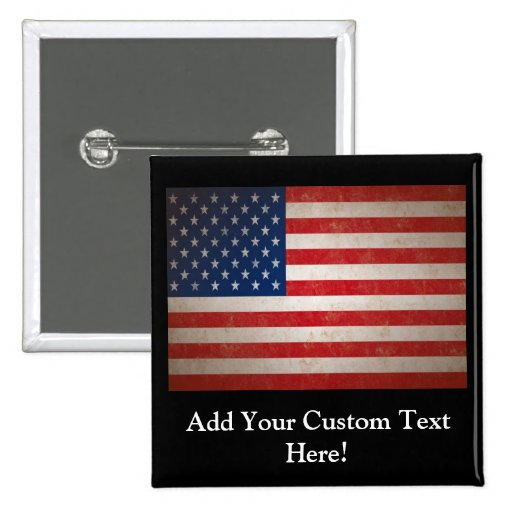 Vintage Style American Flag Patriotic Design Buttons