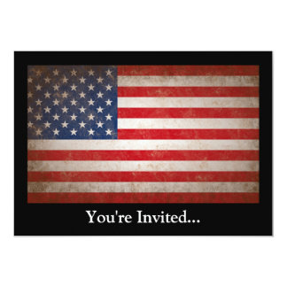 Vintage Style American Flag Patriotic Design Personalized Announcement