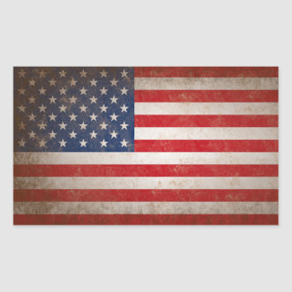 Vintage Style American Flag Patriotic Design Rectangular Sticker