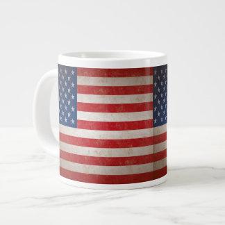 Vintage Style American Flag Patriotic Design 20 Oz Large Ceramic Coffee Mug